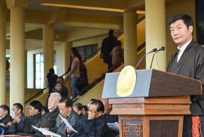 Sikyong Dr Lobsang Sangay delivering his tatement during the 10 December function at the main Tibetan Temple in Dharamshala, India. Photo: TPI/Yeshe Choesang