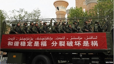 Chinese authorities have stepped up the security presence in key Xinjiang towns and cities