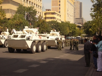 Armed Police soldiers and armored vehicles WZ-551 in the street of Urumqi in September 4, 2009. Days before and at the time, tens of thousands of civilians demonstrated around major places in the city, against a series of the hypodermic needle attacks starting in mid-August.