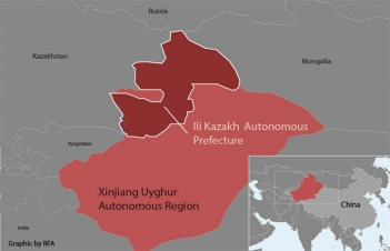ap showing location of Ili prefecture in Xinjiang.