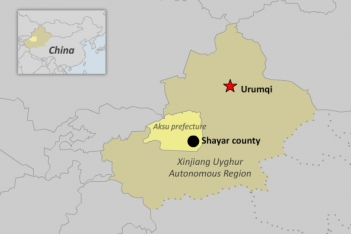The map shows Shayar county in Aksu prefecture.