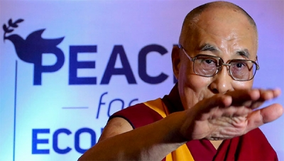 Tibetan spiritual leader the Dalai Lama speaks at a peace conference in Bangalore, India. (AP/Aijaz Rahi)
