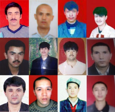 Photos of some of the missing Uyghurs. 1st row, left to right: Abdurehim Sidiq, Amantay Jumetay, Eysajan Memet, Nabi Eli. 2nd row, left to right: Abahun Sopur, Tursunjan Tohti, Zakir Memet, Muhter Mehet. 3rd row, left to right: Alim Abdurehim, Alim Helaji, Memetabla Abdurehim, Yusup Turghun.